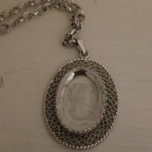 Jewelry - Vintage clear glass Cameo necklace ***see pics***